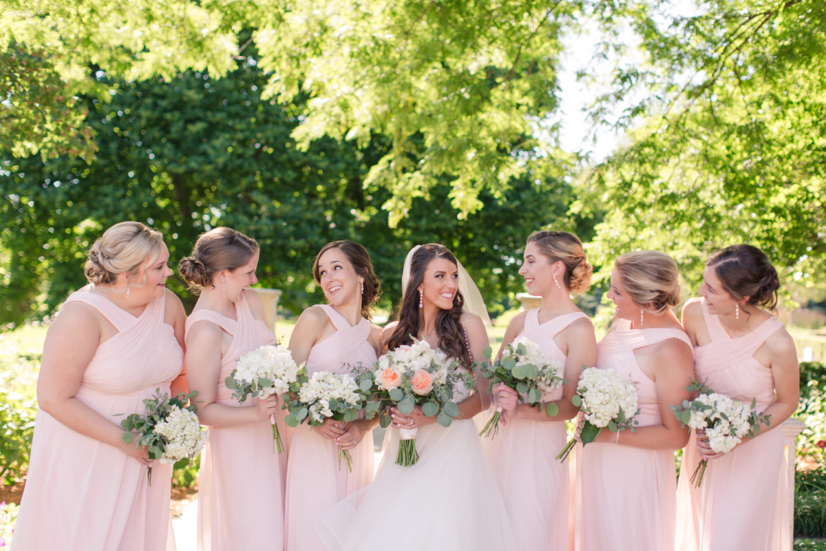 708c65f15a Each bridesmaid looked beautiful in the Bill Levkoff style 7016 in Petal  Pink. The feminine color is the perfect pallet for the old romantic s  Ashley ...